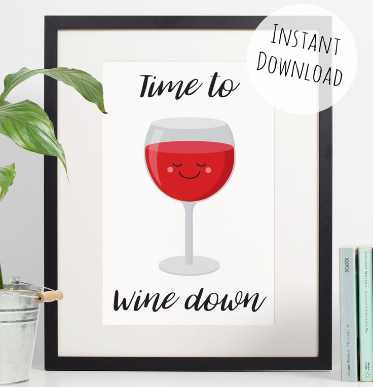 Wine Print, Funny Gift for Wine Lovers, Downloadable Pun Print by RachelFroud on Etsy