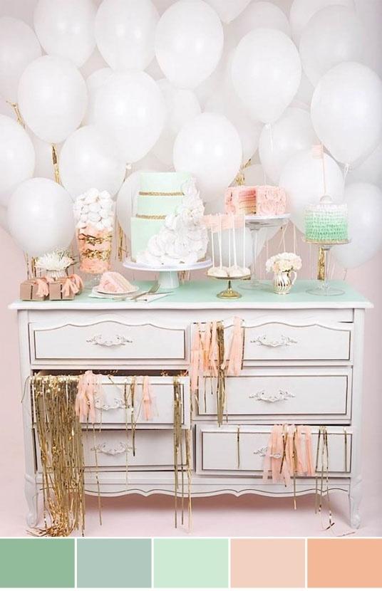 Mint and peach color scheme