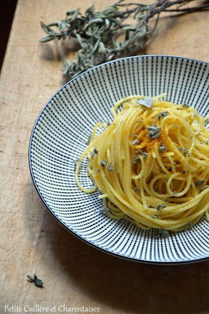 Spaghetti poutargue et sauge