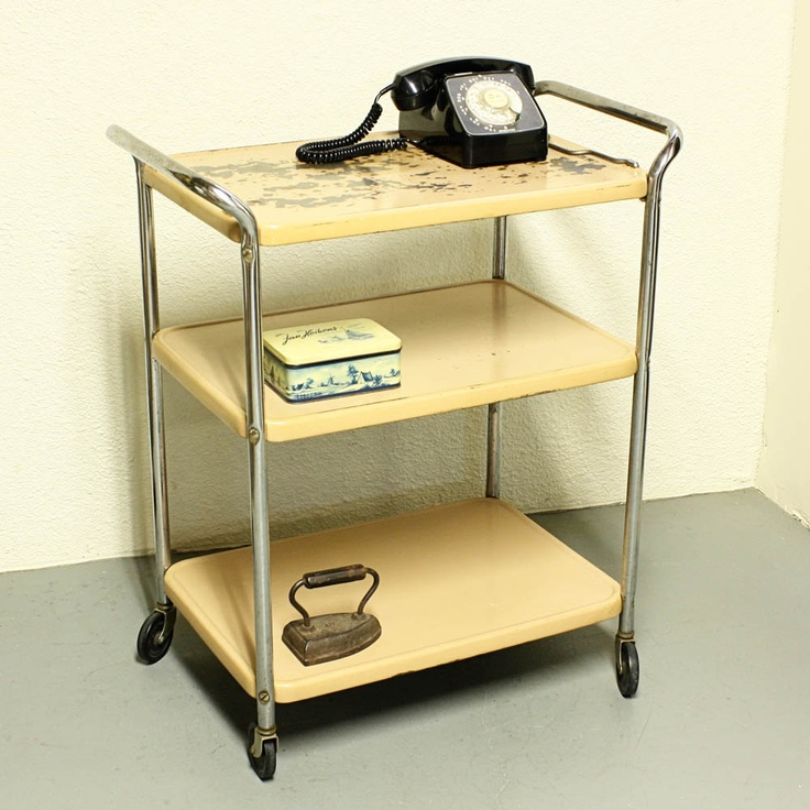 Vintage Metal Cart Serving Cart Kitchen Cart By Moxiethrift, Via Etsy.