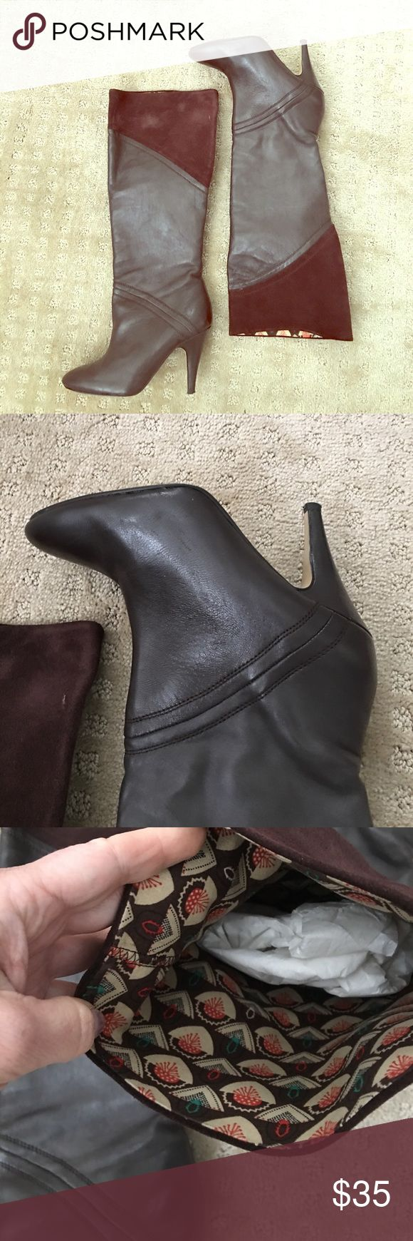 Anthropologie Seychelles boots, leather/suede, 6 absolutely beautiful and super comfortable. worn once. beautiful lining and suede details Seychelles Shoes Heeled Boots