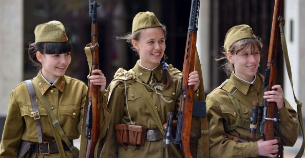 WW2 Russian Girl soldiers - modern commemorative ceremony