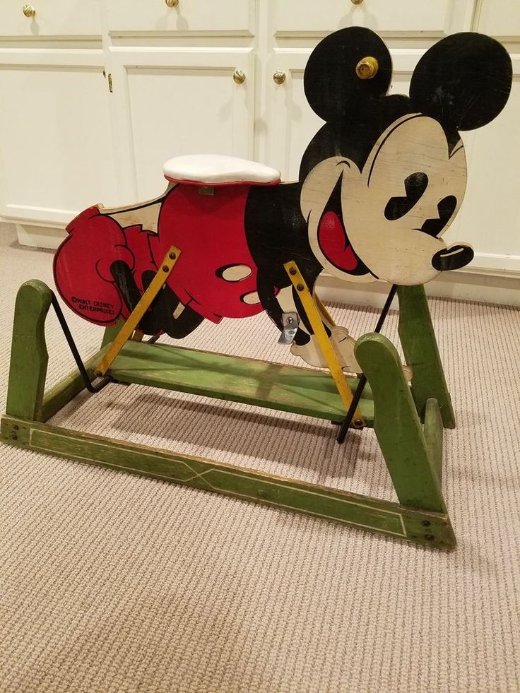 VINTAGE DISNEY MICKEY MOUSE ROCKING RIDE-ON TOY, 1930's, VERY STURDY