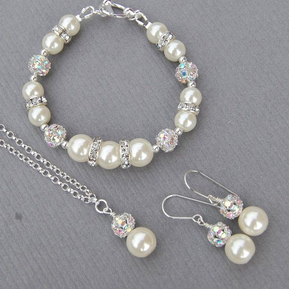 Pearl Wedding Jewelry Bridal Set Bridesmaid Gift by AMIdesigns, $60.00