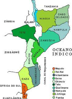 Mapa de Moçambique - Localização de PEMBA (capital de CABO DELGADO)