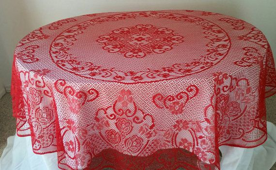Red Lace Round Valentines Day Tablecloth Vintage by FlatRockGoods
