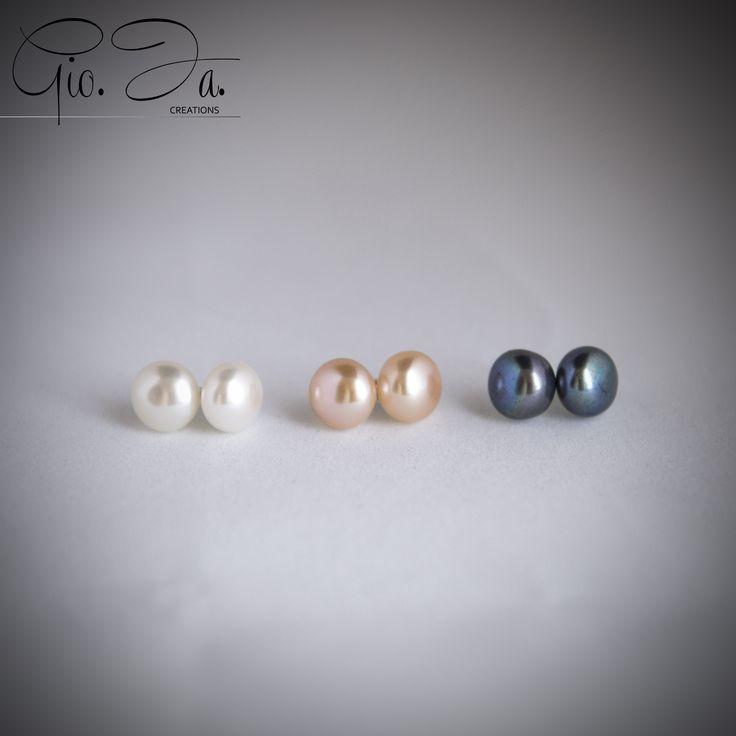 Freshwater Pearls Button Earrings 10mm
