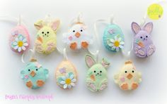 This listing is for a set of 9 felt Easter decorations (3 bunnies, 3 eggs, 3 chicks), to be hung individually or strung along the supplied