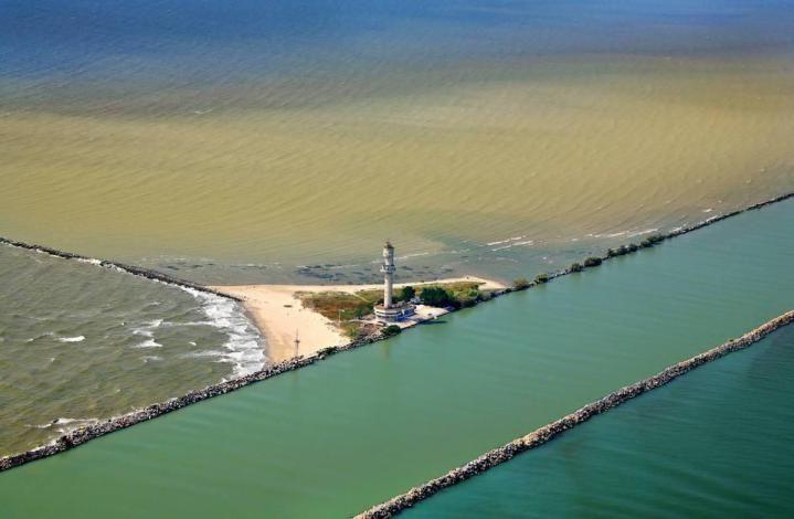 Sulina branch channel Danube Delta Romania Black Sea