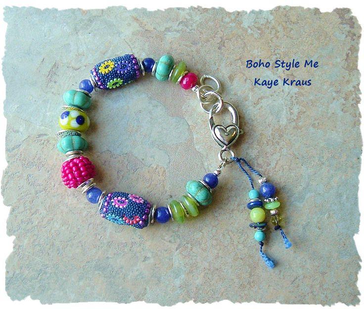 Colorful Kashmiri Bead Bracelet, Bohemian Jewelry, Global Chic, Raspberries, Lampwork Glass, BohoStyleMe, Kaye Kraus by BohoStyleMe on Etsy