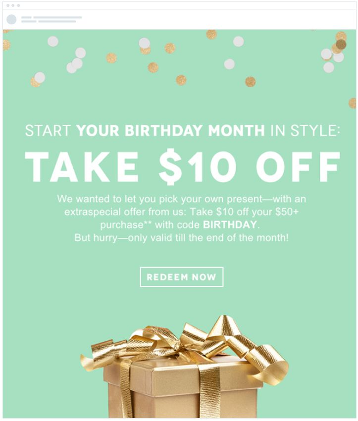 birthday emails ecommerce