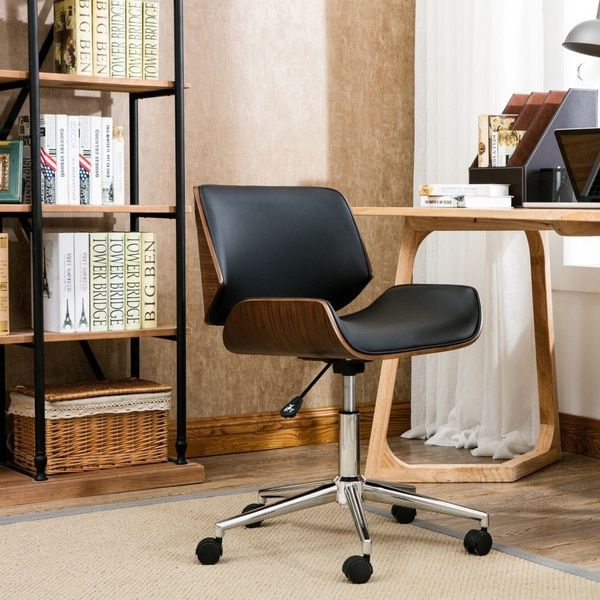 porthos home dove wood and fauxleather office chair 109