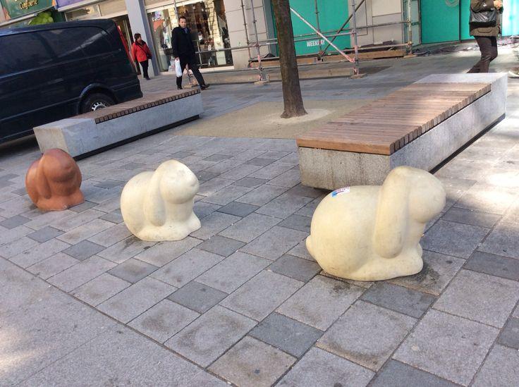 Stone bunnies on Mariahilfer Street