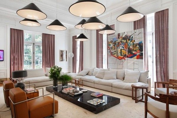 Living Room, Fascinating Living Room With Marvelous Pendant Lamps Intriguing Brown Leather Chairs Astounding Classic Curtain Wonderful Marbl...