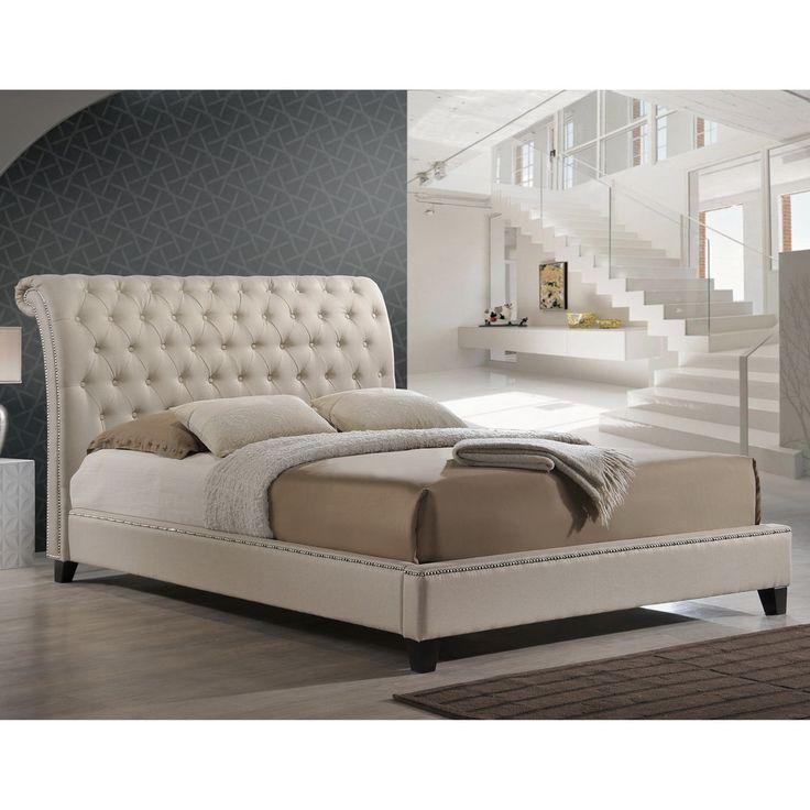 Best Baxton Studio Jazmin Tufted Light Beige Modern Bed With 400 x 300