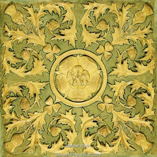 Tile with a relief decoration of Tudor Rose, by Burmantofts Pottery. Leeds, England, late 19th century