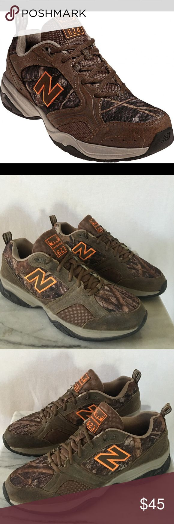 """New Balance 623 New Balance 623 cross trainer. These appear to have hardly been worn as they look absolutely brand new. No original insoles, but they have aftermarket insoles called Footbalance, which are $30-40 insoles. Brown leather upper and orange logo with a great """"forest woods"""" canvas print shell. These cross trainers would be great for an outdoorsman or a hunter/fisherman. Sz 12D. Thanks! New Balance Shoes Athletic Shoes"""