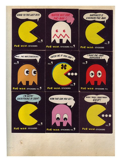 80's Vintage Pac Man Stickers