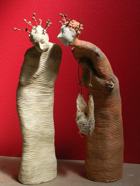 A Silent Solicitation One of a Kind Handmade Terra Cotta and Stoneware Sculpture by etonstreet on Etsy