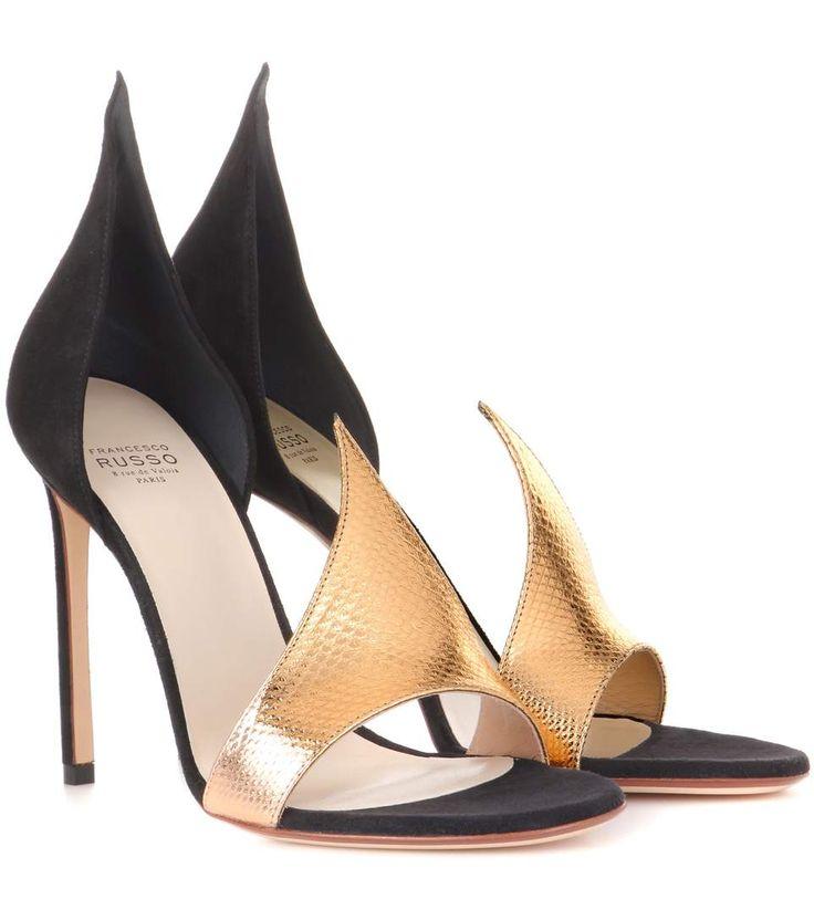 mytheresa.com -  Phard Suede And Snakeskin Sandals | Francesco Russo - mytheresa.com - Luxury Fashion for Women / Designer clothing, shoes, bags
