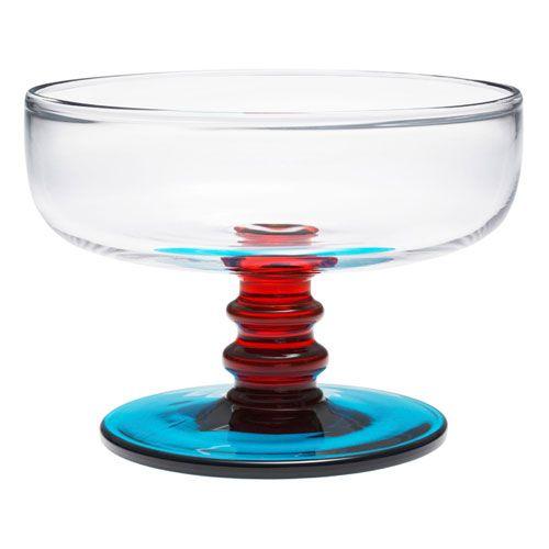 Marimekko Socks Rolled Down Clear / Red / Turquoise Dessert Bowl