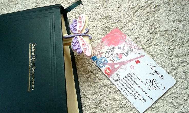 http://accessoriesforstars.blogspot.ro/2015/03/semn-carte-purple-butterfly.html #polymer #bookmarks #original #accessoriesforstars #books #bookmark #night #red #light #purple #pink #butterfly