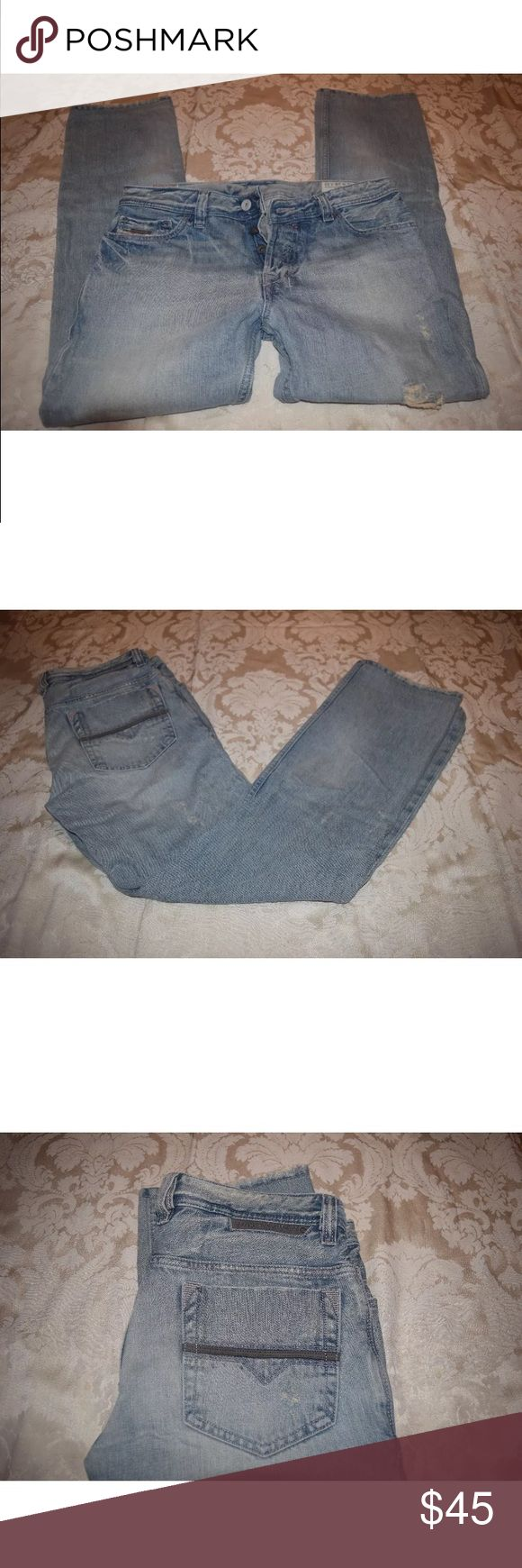Diesel Women Jeans Safado W 28 L 32 Item: Diesel Women Jeans  Condition: Used. Has unthreading throughout threading of jeans but this is the style of them. At the bottom though they are torn some from being stepped on. Please see photos.  Size Per Tag: W28 L32  Wash 008TK  100% Cotton  Made in Italy  Inseam: 29 inches Diesel Jeans Straight Leg