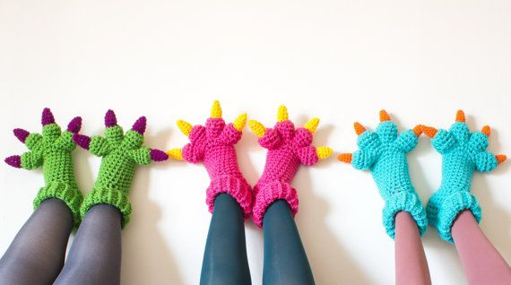 Monster Slippers CROCHET PATTERN PDF Kids Womens by KnitsForLife, $5.00 I'm going to have to break down and buy the pattern!