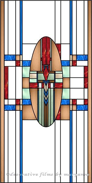 Southwest Mission G Decorative Window Film - This vertical window film has a southwestern feel to it and is colored in brown, green, tan, red, mint and blue.