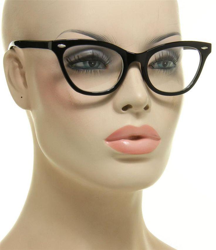 Women's Eyeglasses Cat Eye 1950's Retro Vintage Black Frame Glasses Clear Lens
