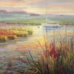 "35""x35"" SUNSET MARSH by ROBERTO LOMBARDI SUMMER CANVAS"