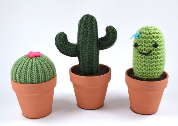 Set of Two (2) Knit Cacti in Terracotta Pots - Pincushion and Fake Plant