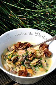 Fruits de mer et champignons, sauce velouté - La cuisine de Doria