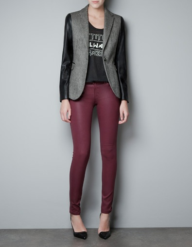 WOOL BLAZER WITH FAUX LEATHER SLEEVES - Woman - New this week - ZARA United States