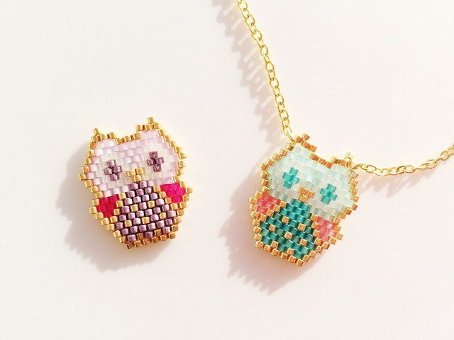 Baby owl miyuki beads pendant - link to brick stitch patter ~ Seed Bead Tutorials