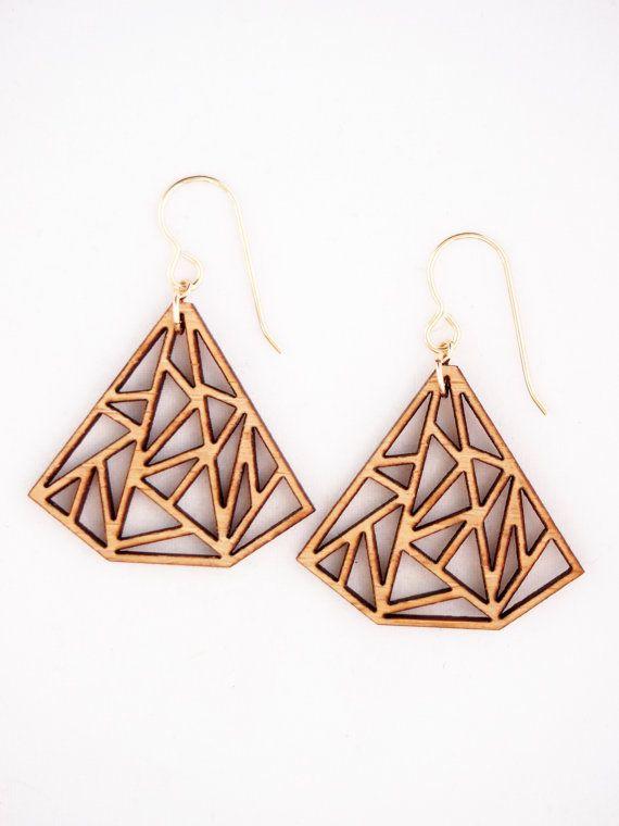 Prisma triangolo Laser taglio orecchini di foliadesignsf su Etsy
