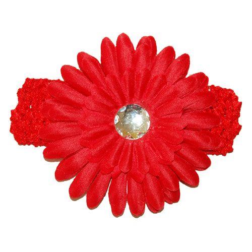 Red Gerbera Flower Headband