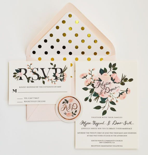 Custom Hand Painted Wedding Invitation Suite - Gold and Blush floral and polka dots. Love the lettering, envelope, colors... Love it all