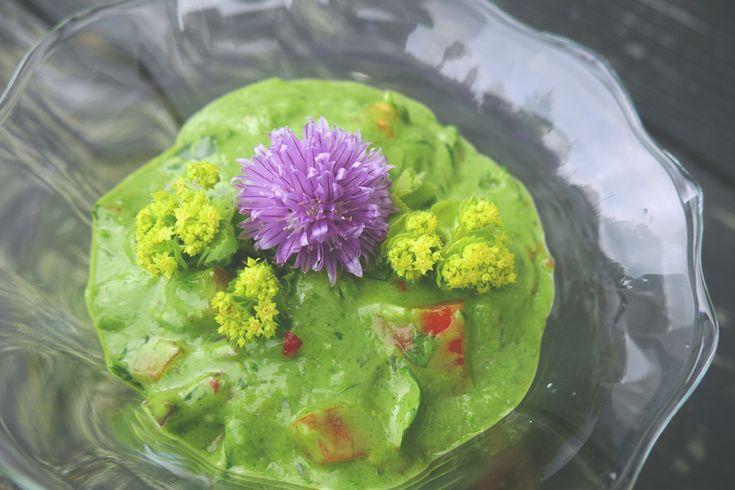 INGREDIENSER:     * 2 dl kärleksört (blad)     * ½ tomat     * ¼ rödlök     * ½ dl hackad koriander     * ½ lime     * 1 msk olivolja     * 1 msk rapsolja     * 1 tsk Tabasco     * 1 tsk honung    GÖR SÅHÄR:  Skölj kärleksörtsbladen. Mixa bladen med olivolja och rapsolja till önsvärd  konsistens. Hacka tomat, lök och koriander och blanda allt i en skål.  Pressa lime, tillsätt honung och tabasco. Salta och peppra. Avnjut som  dipsås.  Kärleksört innehåller mycket protein och emulgerar väl…