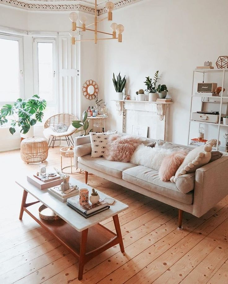 A Mix Of Mid Century Modern Bohemian And Industrial Interior Style Home And Apartment Living Room Room Decor Industrial Interior Style