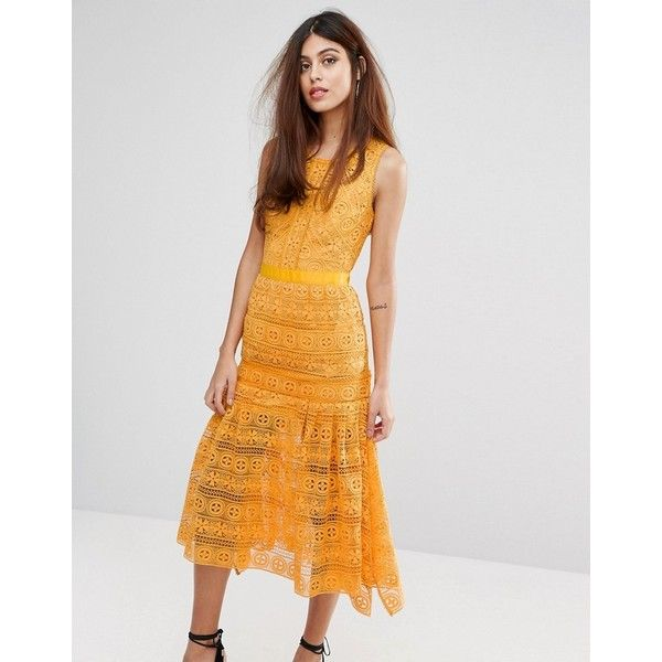 True Decadence Midi Lace Dress with Frill detail ($220) ❤ liked on Polyvore featuring dresses, orange, slimming cocktail dresses, flutter-sleeve dresses, lace dress, orange dress and crochet lace dress