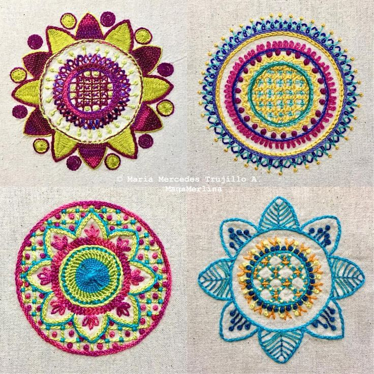 "335 Me gusta, 19 comentarios - MagaMerlina (@magamerlina_) en Instagram: ""Four Embroidered Mandalas #embroideredmandala #mandala #mandalas #mandalaart #embroidery…"""