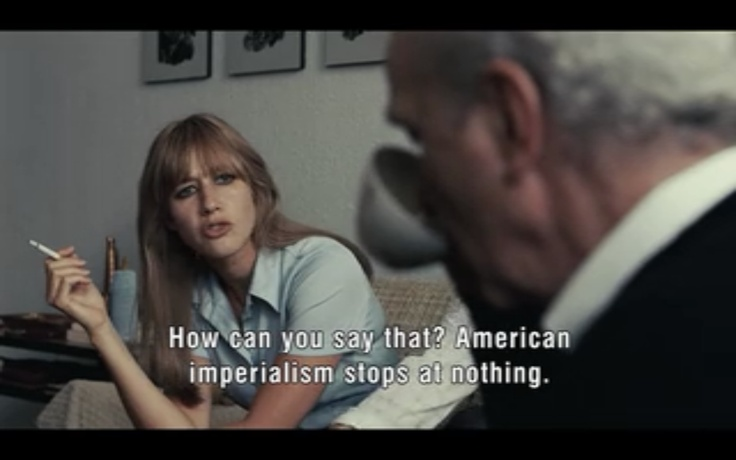 """""""How can you say that? American imperialism stops at nothing.""""      Can anyone name this movie? Don't cheat!: Movie"""