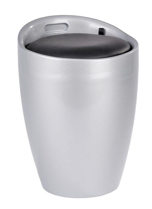 Der trendige Badhocker und Wäschesammler Candy ist aus stabilem ABS-Kunststoff gefertigt. Mit seinem edlen Silber kombiniert mit schwarz wird das moderne Accessoire zum Hingucker in jedem Bad. Viel Stauraum für Wäsche bietet der praktische Badhocker unter der Sitzfläche.