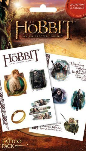 The Hobbit Temporary Tattoos by MGM. $8.99. UK Import. 10x17cm. 13 tattoos on 2 sheets. Official Licensed Product. Cellophane packed packet of temporary tattoos, great for parties!