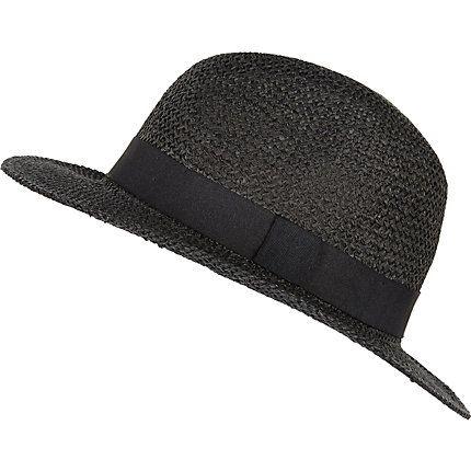 Black straw fedora hat £14.00