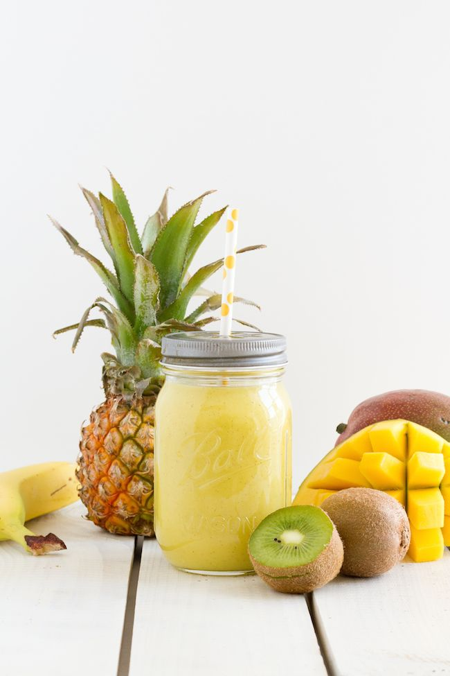 Blend some fresh banana, kiwi, pineapple and mango in a blender and dilute with a little water. Or we could try frozen.