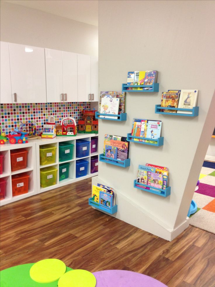 Cooperized Kidz childcare playroom decor Meredith Rosson ikea spice racks as bookshelves; ikea expedit as toy box shelves; ikea kitchen cabinets in high gloss white