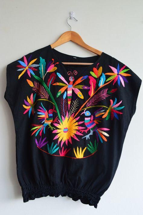 Blusa de Manta 100% Organica Blusa Otomi color por OtomiMexico