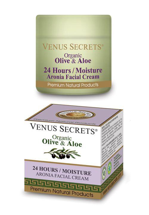 Venus Secrets 24 Hours / Moisture Facial Cream 50ml with Organic olive Olive, Aronia, Organic Aloe vera, Panthenol, Chamomile extract, calendula and Vitamins